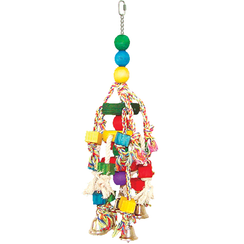 K001 Rope & Bead Toy w/ Bells Bird Toy