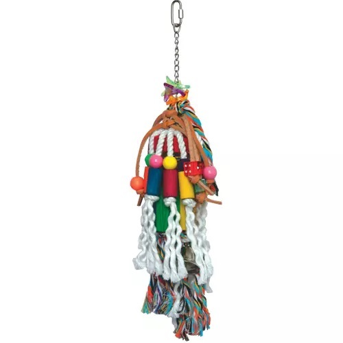 K005 Hanging blocks, leather strips toy