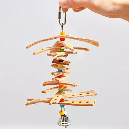 L068 Twirling Leather Strips Beads and Bells toy