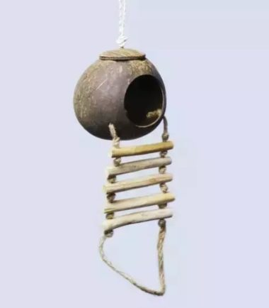 Coconut Hut with Ladder Small K617 natural bird toy